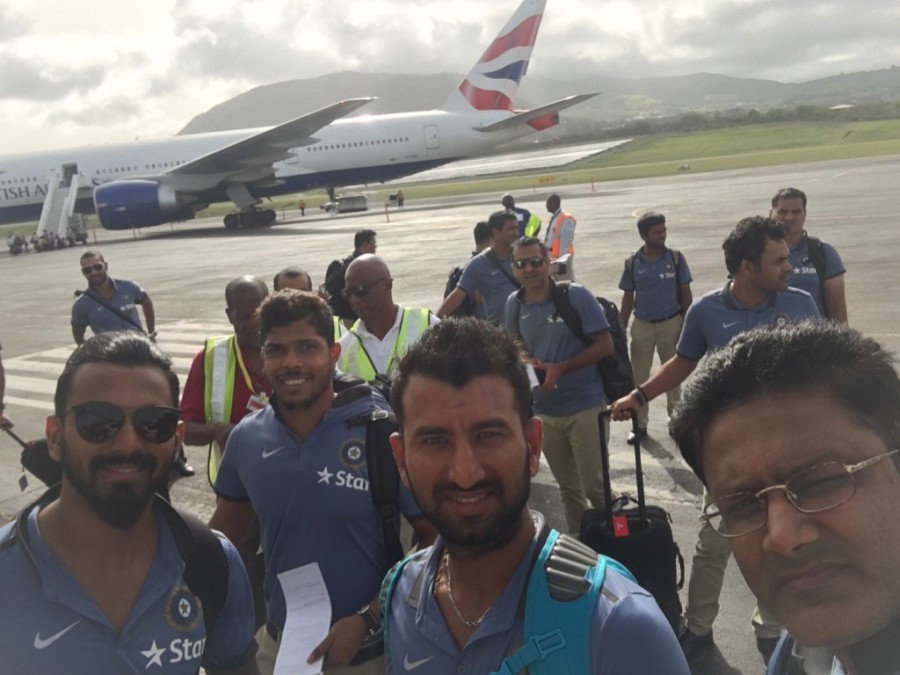 Team India reaches West Indies,Team India reaches West Indies for Test series,Anil Kumble,Virat Kholi,Sir Vivian Richards Stadium,Virat Kohli and team,India vs West Indies,Ind v WI