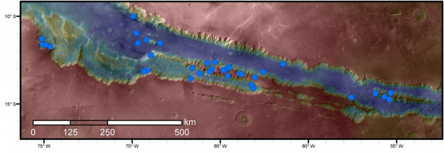 Mars' slope lineae could suggest liquid water,Blue dots,Mars,liquid water,liquid water on Mars,Mars liquid water,liquid water on mars pics