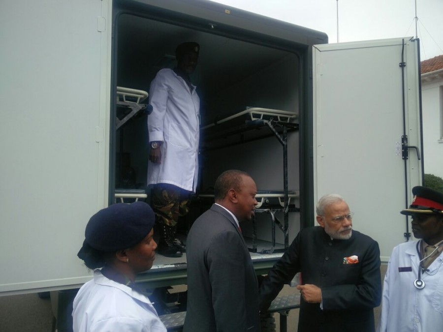 India gifts 30 field ambulances to Kenya,India gifts ambulances to Kenya,ambulances,Narendra Modi,Prime Minister Narendra Modi,India-Kenya,Kenyan President Uhuru Kenyatta,Uhuru Kenyatta,Modi,Modi in Kenya