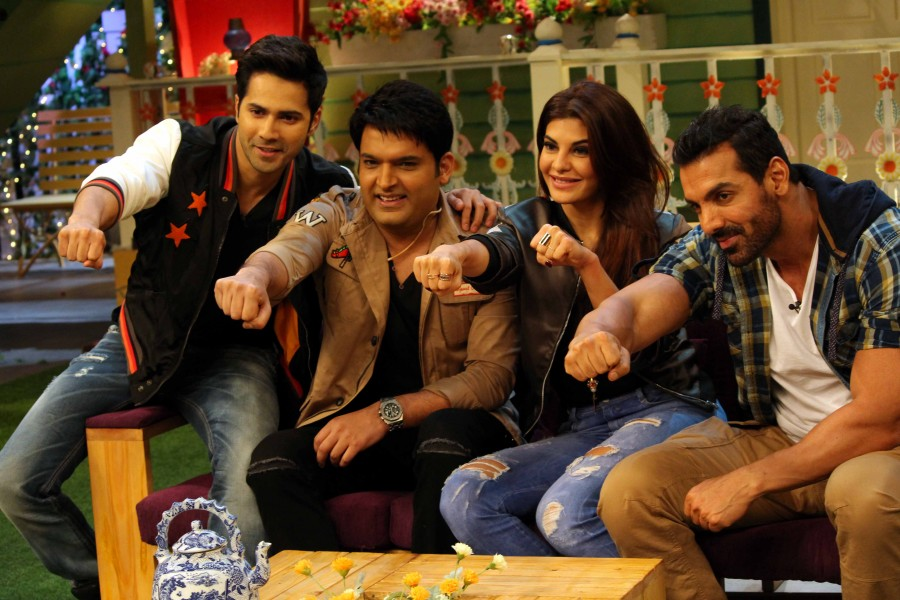 John Abraham,Varun Dhawan,Jacqueline Fernandez,The Kapil Sharma Show,dishoom promotions,Dishoom movie promotions,The Kapil Sharma show,Kapil Sharma