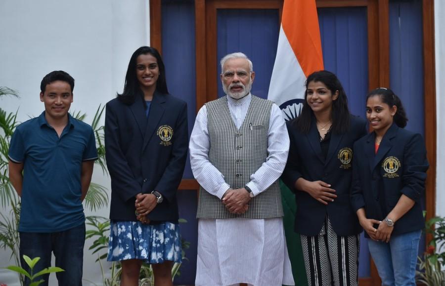 National Sports Day,National Sports Day 2016,PM Narendra Modi,Narendra Modi,Narendra Modi meets P.V. Sindhu,Sakshi Malik,Dipa Karmakar,Narendra Modi meets Sakshi Malik,Narendra Modi meets Dipa Karmakar