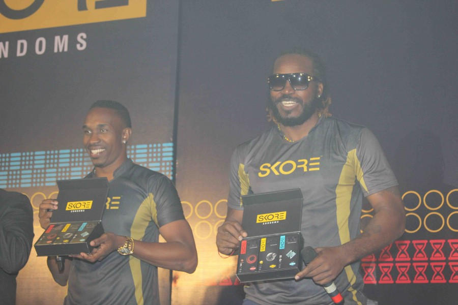 Chris Gayle and Dwayne Bravo,Chris Gayle,Dwayne Bravo,Chris Gayle launches condoms,Dwayne Bravo launches condoms,condoms,Skore champion series condoms