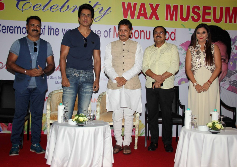 Bollywood actor Sonu Sood's wax statue unveiled in Mumbai.