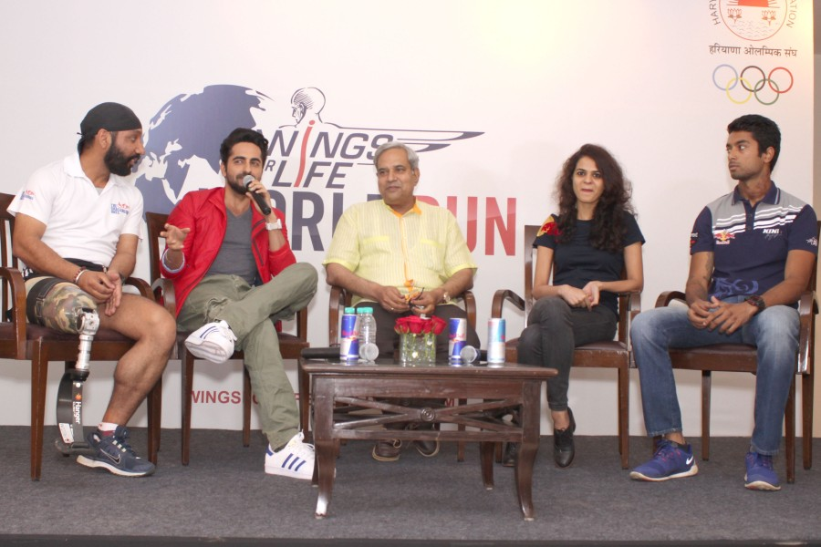 Actor Ayushmann Khurrana,Wings For Life World Run-2nd edition,Wings For Life World Run - press conference,Images of  Wings For Life World Run,Press meet photos of Wings For Life World Run,Actor Ayushmann Khurrana images,Actor Ayushmann Khurrana pics,Actor