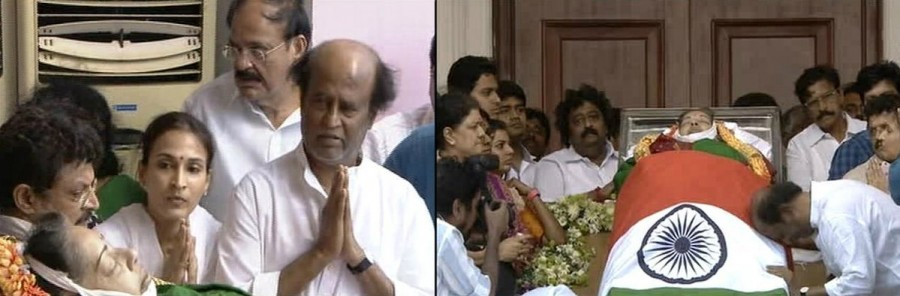 Rajinikanth,Dhanush,Rajinikanth pays last respect to Jayalalithaa,Dhanush pays last respect to CM Jayalalithaa,CM Jayalalithaa,last respect to Jayalalithaa,Jayalalithaa funeral,Jayalalithaa funeral pics