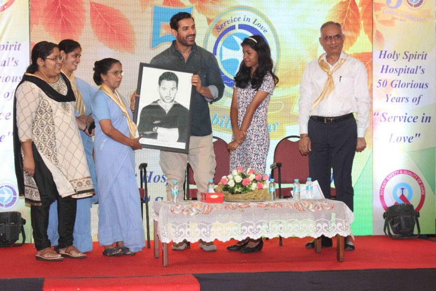 John Abraham,actor John Abraham,John Abraham at Holy Spirit Hospital golden jubilee celebrations,Holy Spirit Hospital golden jubilee celebrations,Golden Jubilee Celebration of Holy Spirit Hospital,John Abraham latest pics,John Abraham latest images,John A