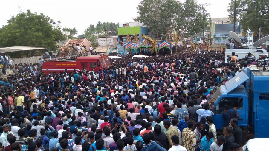 Villagers protest against Jallikattu ban,Jallikattu ban,lathicharge,Police lathicharge,Alanganallur,Alanganallur town,Jallikattu,bull-taming sport