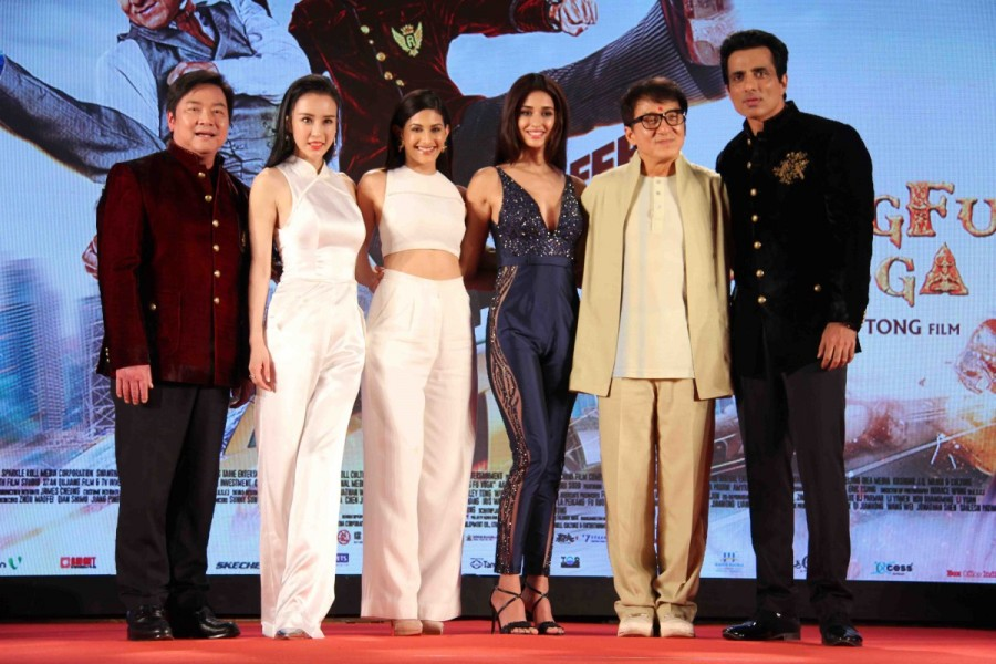 Hollywood actor Jackie Chan,filmmaker Stanley Tong,Salman Khan,Shilpa Shetty,Sonu Sood,Amyra Dastur,Disha Patani,Miya Muqi,Kung Fu Yoga,Kung Fu Yoga press conference
