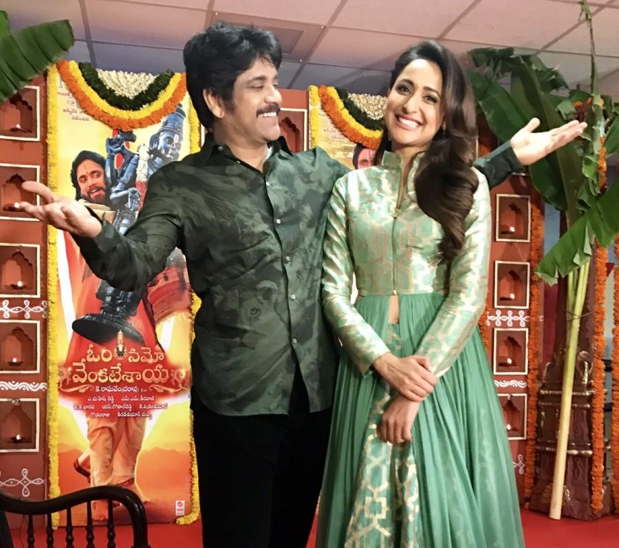 Nagarjuna Akkineni,Pragya Jaiswal,Om Namo Venkatesaya promotions,Om Namo Venkatesaya,om namo movie venkatesaya,Anushka Shetty