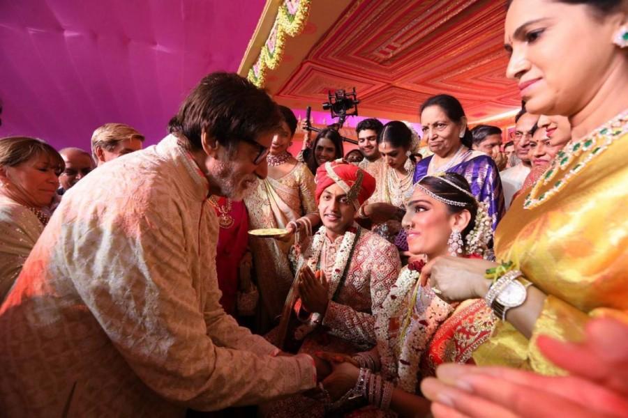 Rajinikanth,Chiranjeevi,Pawan Kalyan,Balakrishna,Amitabh Bachchan,GVK Reddy Grandson Keshav Veena Wedding,Keshav Veena,Keshav and Veena,GVK Reddy Grandson Keshav,Allu Arjun,Nagarjuna,Amala,Akhil Akkineni,Ranveer Singh