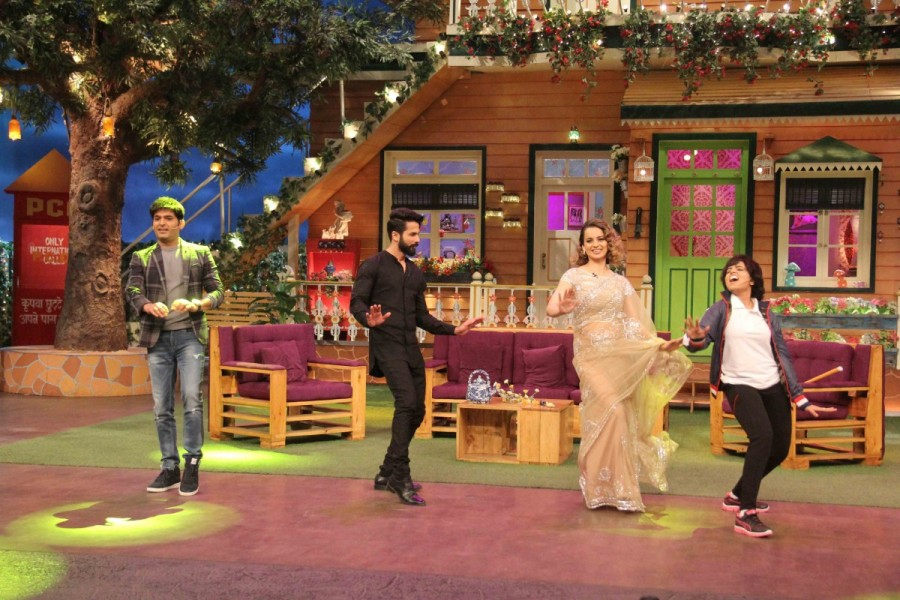 Shahid Kapoor and Kangana Ranaut,Shahid Kapoor,Kangana Ranaut,Rangoon,Rangoon promotion,Rangoon movie promotion,Rangoon promotion of The Kapil Sharma Show,The Kapil Sharma Show,The Kapil Sharma Show on the sets