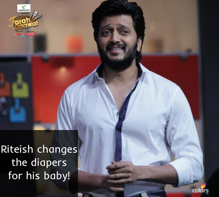 Riteish Deshmukh,Genelia D'Souza,Farah Ki Daawat,Riteish wife Genelia,direcor Sajid Khan,Farah Khan,Farah Khan cookery TV Show,Colors cookery Show photos