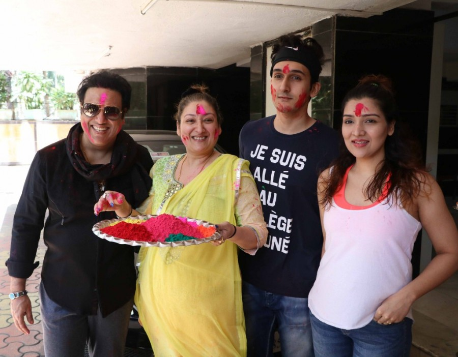 Govinda celebrates holi,Govinda celebrates Holi festival,Govinda,actor Govinda,Govinda pics,Govinda images,Govinda photos,Govinda stills,Govinda pictures