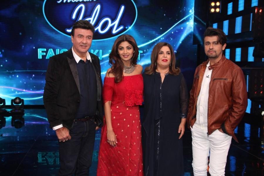 Anu Malik,Farah Khan,Sonu Nigam,Shilpa Shetty,shilpa On sets of Indian Idol season 9,shilpa shetty On sets of Indian Idol season 9,Indian Idol season 9,Indian Idol season 9 final