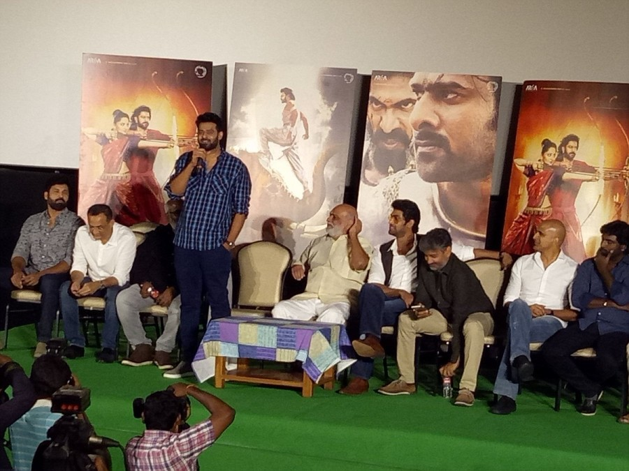 Prabhas,Rana Daggubati,SS Rajamouli,Bahubali 2 trailer launch,Bahubali 2 trailer,Bahubali 2 trailer launch pics,Bahubali 2 trailer launch images,Bahubali 2 trailer launch photos,Bahubali 2 trailer launch stills,Bahubali 2 trailer launch pictures