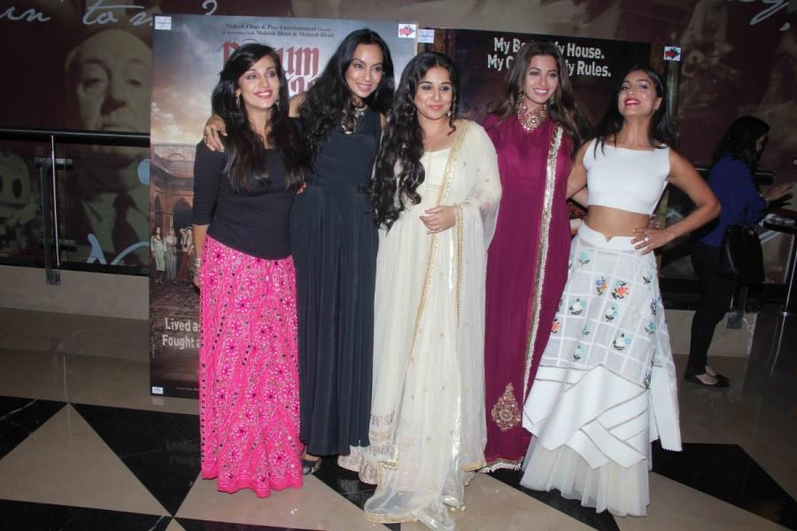 Begum Jaan special screening,Begum Jaan,Vidya Balan,Poonam Rajput,Ravija Chauhan,Pitobash Tripathy,Mishti Chakravarty,Pallavi Sharda,Sayani Gupta,Gauhar Khan,Priyanka Setia,Fllora Saini,Ridhima Tiwari