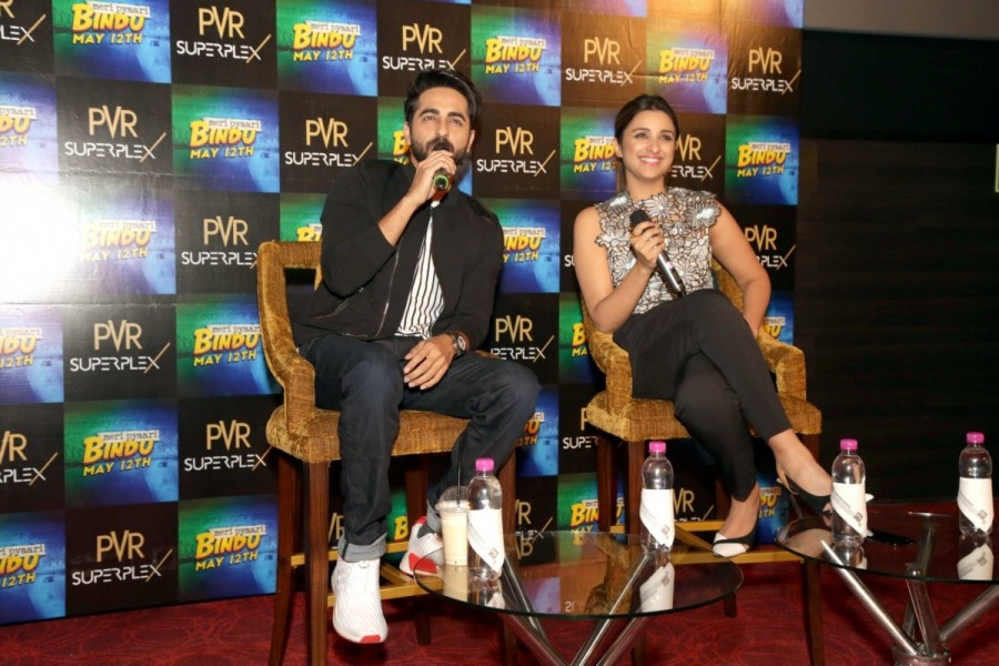 Parineeti Chopra and Ayushman Khuranna,Parineeti Chopra,Ayushman Khuranna,Meri Pyari Bindu,Meri Pyari Bindu promotion,Meri Pyari Bindu movie promotion,Meri Pyari Bindu promotion pics,Meri Pyari Bindu promotion images,Meri Pyari Bindu promotion stills,Meri