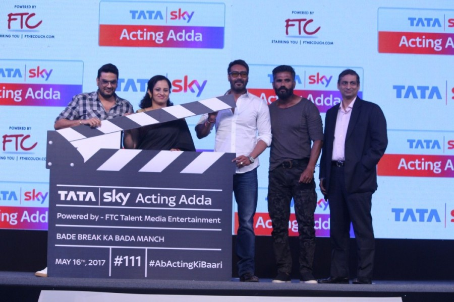 Ajay Devgn and Suniel Shetty,Ajay Devgn,Suniel Shetty,Tata Sky Acting Adda,Tata Sky Acting Adda launch,Tata Sky Acting Adda launch pics,Tata Sky Acting Adda launch images,Tata Sky Acting Adda launch photos,Tata Sky Acting Adda launch stills,Tata Sky Actin