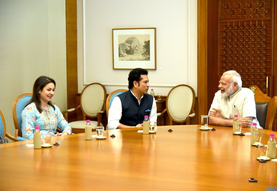 Sachin: A Billion Dreams,Sachin: A Billion Dreams Release,Sachin: A Billion Dreams movie Release,Sachin Tendulkar receives Narendra Modi blessings,Sachin Tendulkar meets Narendra Modi,Narendra Modi,PM Narendra Modi,Modi,Sachin Tendulkar