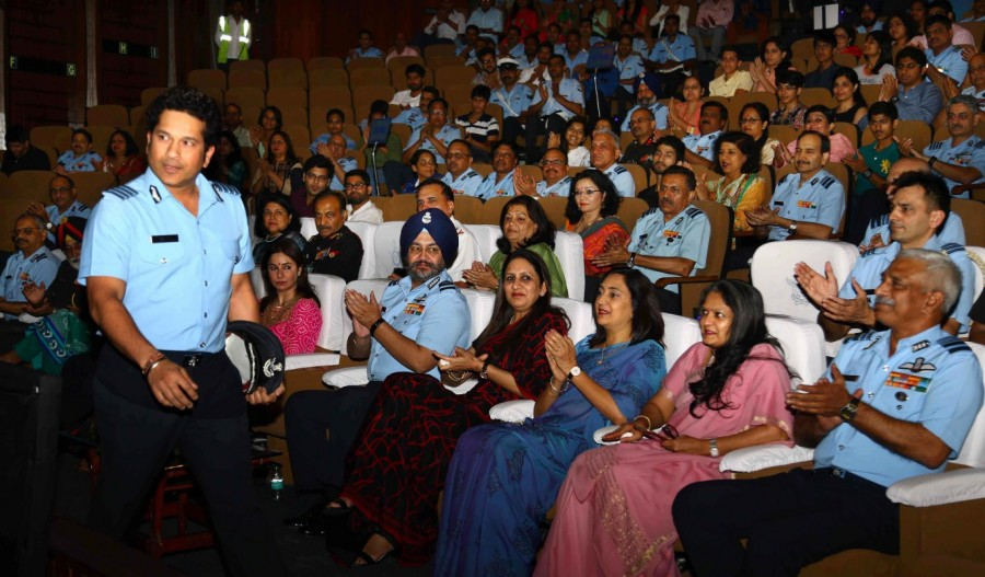 Legendary cricketer Sachin Tendulkar,Sachin Tendulkar,Sachin: A Billion Dreams special screening,Sachin: A Billion Dreams special screening for armed forces,Sachin: A Billion Dreams special screening pics,Sachin: A Billion Dreams special screening images