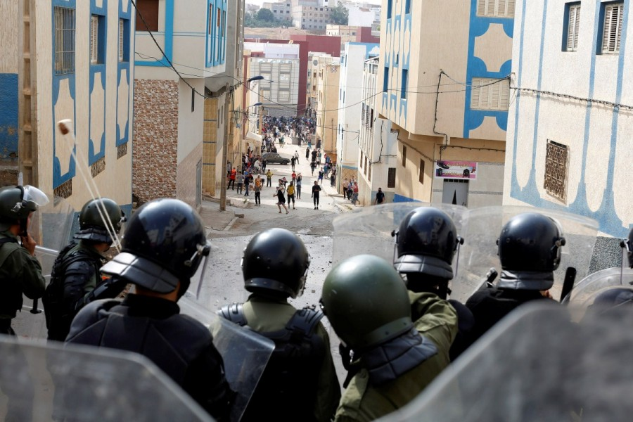 Rare protests rock Morocco,Morocco,protests rock Morocco,protests at Morocco,northern Moroccan