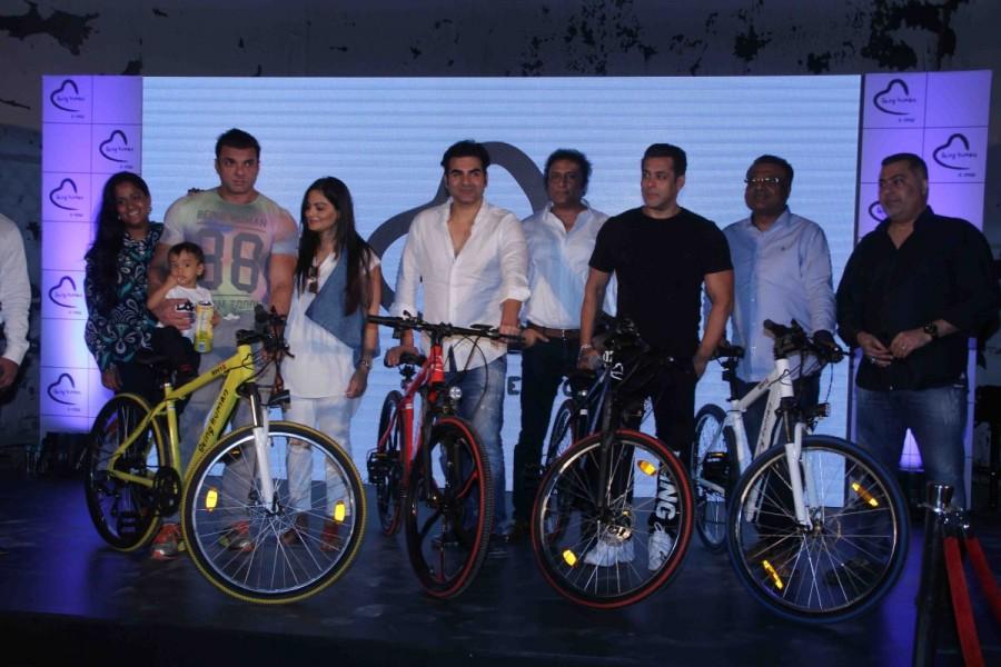 Salman Khan,actor Salman Khan,Being Human E-Cycle,World Environment Day,Sohail Khan,Arbaaz Khan,Aayush Sharma