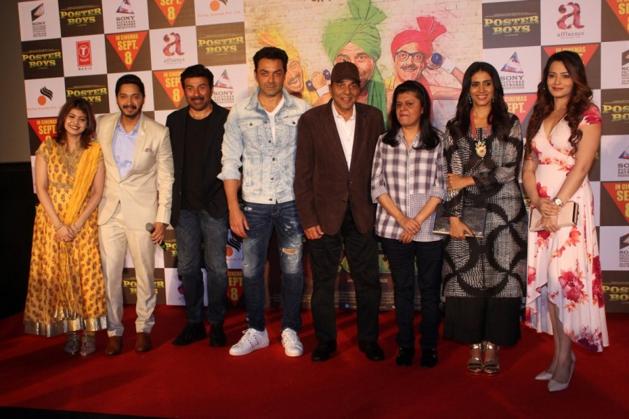 Sunny Deol,Dharmendra,Shreyas Talpade,Bobby Deol,Poster Boys,Poster Boys trailer launch,Poster Boys trailer launch pics,Poster Boys trailer launch images,Poster Boys trailer launch stills,Poster Boys trailer launch pictures,Poster Boys trailer launch phot