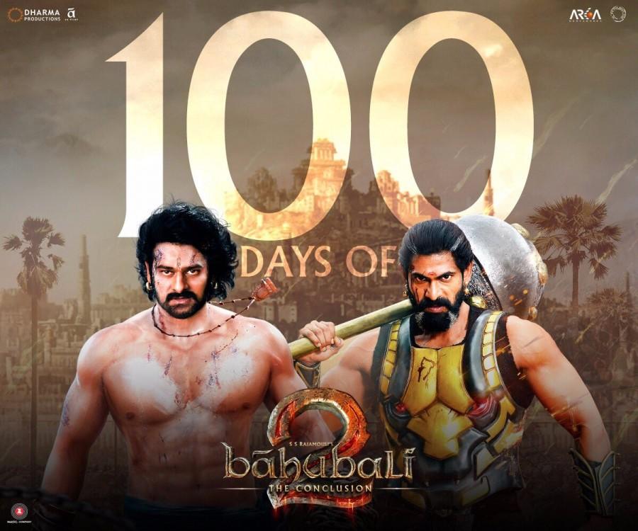 Baahubali 2,Baahubali 2 100 days,Prabhas,Rana Daggubati,Baahubali 2 completes 100 days