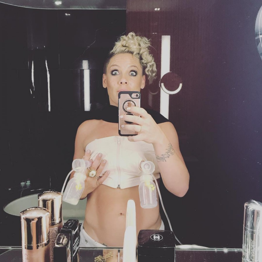 Pink shares photo of her pumping breast milk,Pink breast milk,Pink pumping breast milk,Jameson