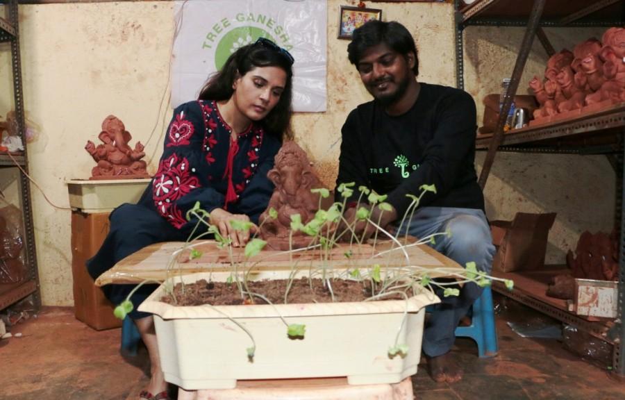 Richa Chadha,Richa Chadha promotes Eco Ganesha,Eco Ganesha,Ganesh Chaturthi,Eco-Friendly Ganesha