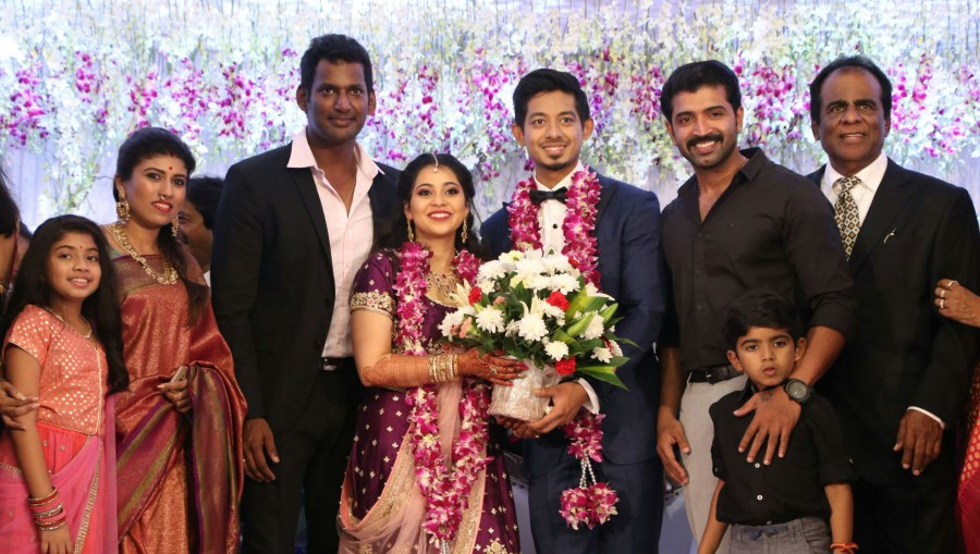 Arun Vijay,Hansika Motwani,Gayathri Raguram,Prabhu Deva,Vishal sister,Aishwarya Reddy Wedding Reception,Aishwarya Reddy,Aishwarya Reddy Wedding Reception pics,Aishwarya Reddy Wedding Reception images,Aishwarya Reddy Wedding Reception stills,Aishwarya Redd