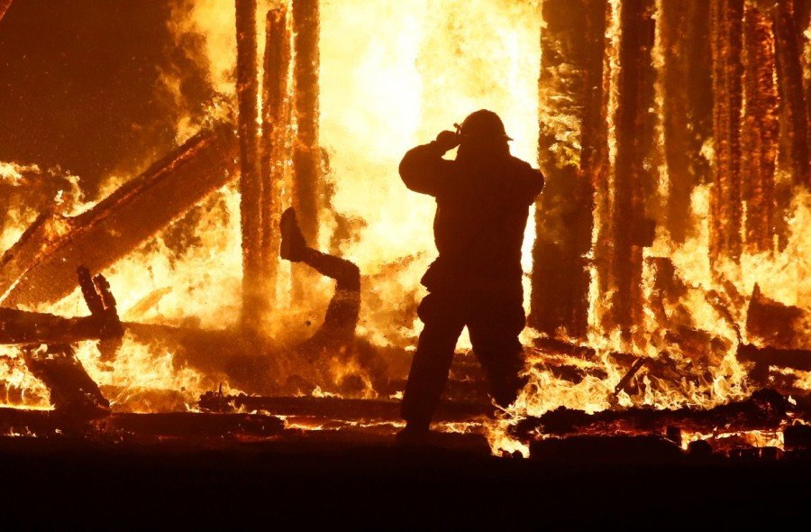 Burning Man festival,Burning Man festival 2017,Burning Man,Man runs into flames,firefighters