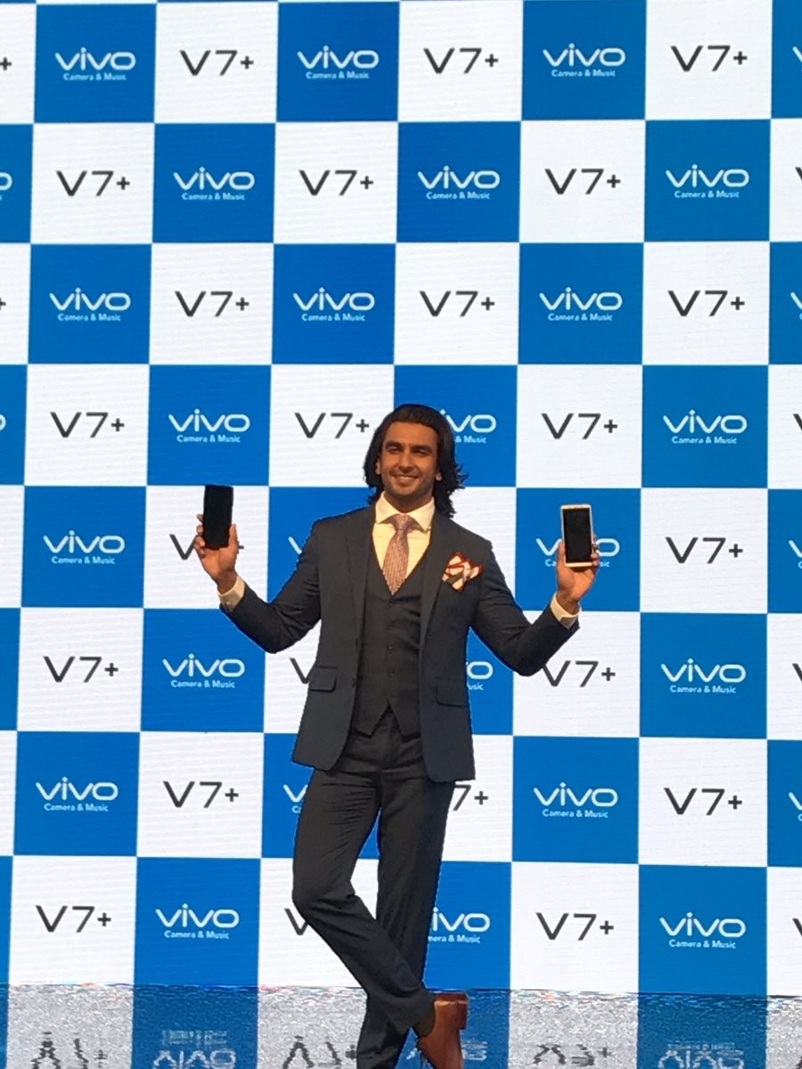 Vivo V7+,Vivo V7 plus,Ranveer Singh,actor Ranveer Singh,Ranveer Singh launches Vivo V7+,Vivo V7+ launch