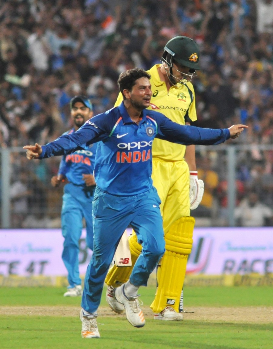 Chinaman Kuldeep Yadav,Chinaman Kuldeep Yadav gets hat-trick,Chinaman Kuldeep Yadav  hat-trick,Kuldeep gets hat-trick,India beat Australia in second ODI,India beat Australia