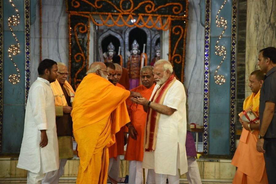 Narendra Modi,PM Narendra Modi,Prime Minister Narendra Modi,Narendra Modi offers prayers at Tulsi Manas,Modi at Durga Kund