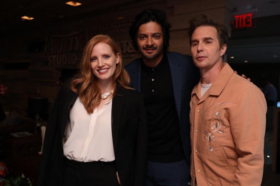 Ali Fazal,Jessica Chastain,Sam Rockwell,Ali Fazal hangs out with Jessica Chastain and Sam Rockwell