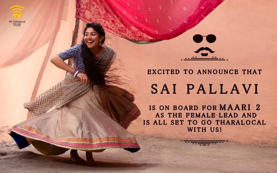 Sai Pallavi,actress Sai Pallavi,Sai Pallavi with Dhanush,Sai Pallavi and Dhanush,Dhanush,Maari 2,Sai Pallavi in Maari 2