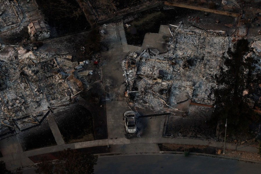 California wildfire,California wildfire from above,California wildfire aftermath,Tubbs Fire,Aerial views of California wildfire