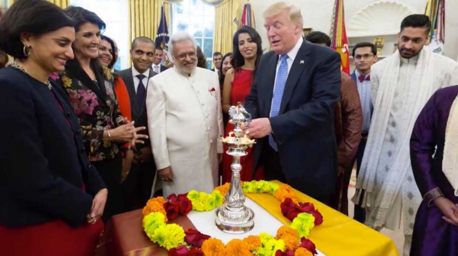 US President Donald Trump,Donald Trump,Donald Trump celebrates first Diwali,Donald Trump celebrates Diwali,Donald Trump celebrates Diwali in White House,Indian American