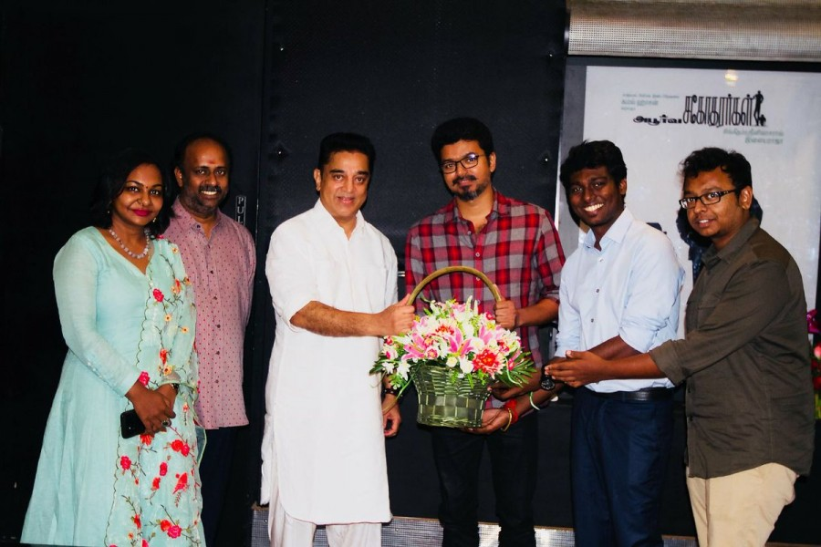 Kamal Haasan,Kamal Haasan watches Mersal,Kamal Haasan watches Mersal movie,Kamal Haasan and Thalapathy Vijay,Kamal Haasan and Vijay,Thalapathy Vijay,Atlee