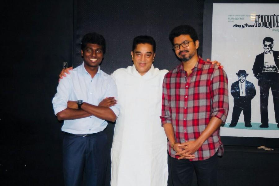 Kamal Haasan,Kamal Haasan watches Mersal,Kamal Haasan watches Mersal movie,Kamal Haasan and Thalapathy Vijay,Kamal Haasan and Vijay,Thalapathy Vijay,Atlee