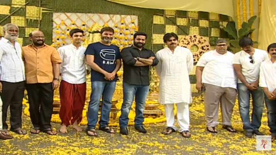 Pawan Kalyan,Jr NTR,Trivikram Srinivas,NTR 28,#ntr28launch,NTR 28 launch,NTR 28 movie launch,Pawan Kalyan and Jr NTR,Pawan Kalyan with Jr NTR