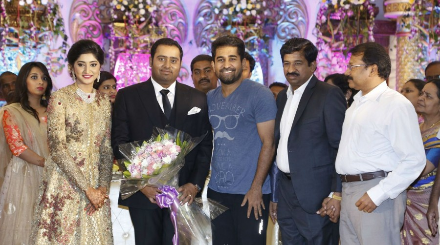 Vijay Antony,Arya,K Bhagyaraj,T Rajendar,Venkat Prabhu,Abinesh Elangovan and Nandhini Wedding Reception,Abinesh Elangovan and Nandhini