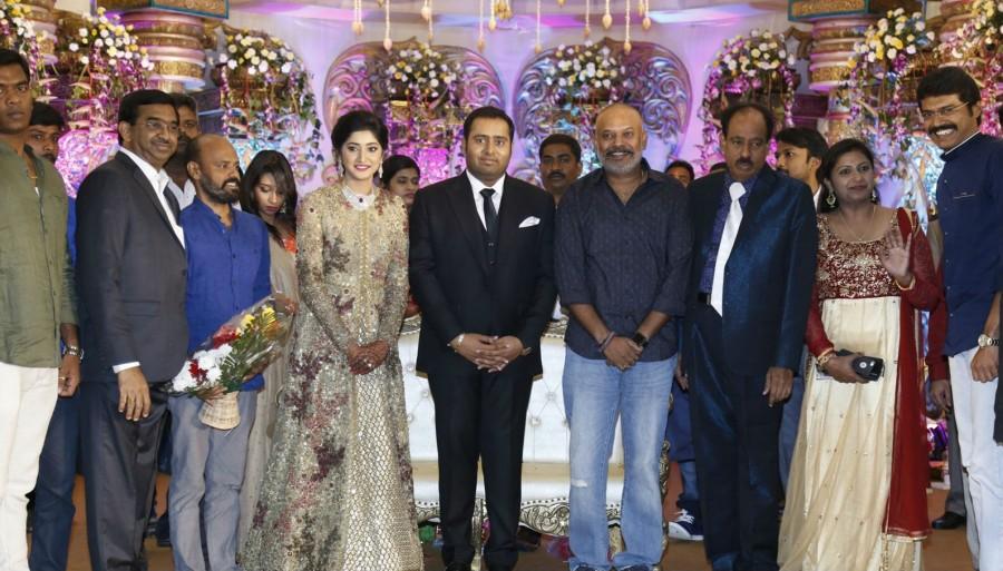 Vijay Antony,Arya,K Bhagyaraj,T Rajendar,Venkat Prabhu,Abinesh Elangovan and Nandhini Wedding Reception,Abinesh Elangovan and Nandhini