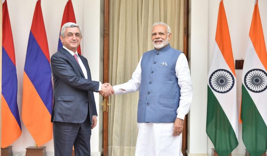 Narendra Modi,Armenian President Serzh Sargsyan,Narendra Modi meets Serzh Sargsyan,Serzh Sargsyan,Prime Minister Narendra Modi,PM Narendra Modi