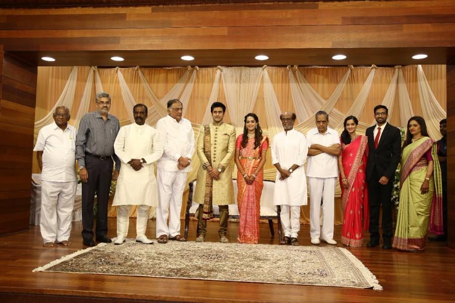 Superstar Rajinikanth,Rajinikanth,AVM Saravanan,aparna guhan,maitreya,shyam,aparna guhan marriage,maitreya wedding,aparna guhan maitreya marriage,tamil celebrity wedding,avm saravanan granddaughter wedding