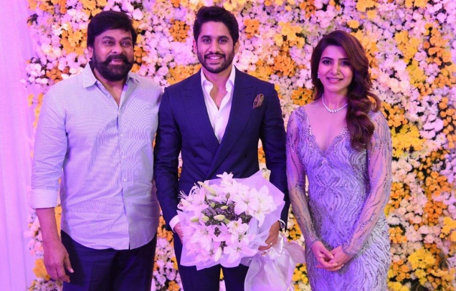 Chiranjeevi,Ram Charan,Allu Arjun,SS Rajamouli,Naga Chaitanya and Samantha Akkineni Wedding Reception,Naga Chaitanya,Samantha Akkineni Wedding Reception,Samantha Wedding Reception,Samantha Wedding Reception pics,Samantha Wedding Reception images,Samantha