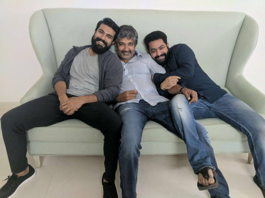 SS Rajamouli,SS Rajamouli with Ram Charan and Jr NTR,Ram Charan and Jr NTR,Ram Charan,Jr NTR,Mega Powerstar Ram Charan,Young Tiger Jr NTR