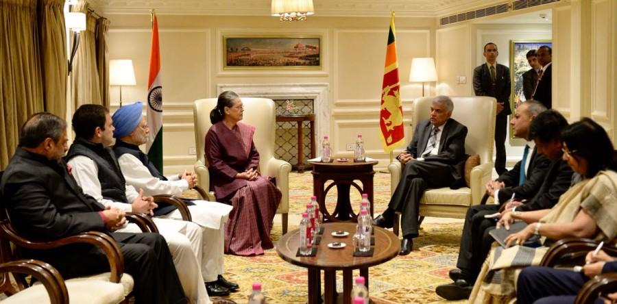Sonia Gandhi,Rahul Gandhi,Manmohan Singh,Sri Lankan PM Ranil Wickremesinghe,Ranil Wickremesinghe