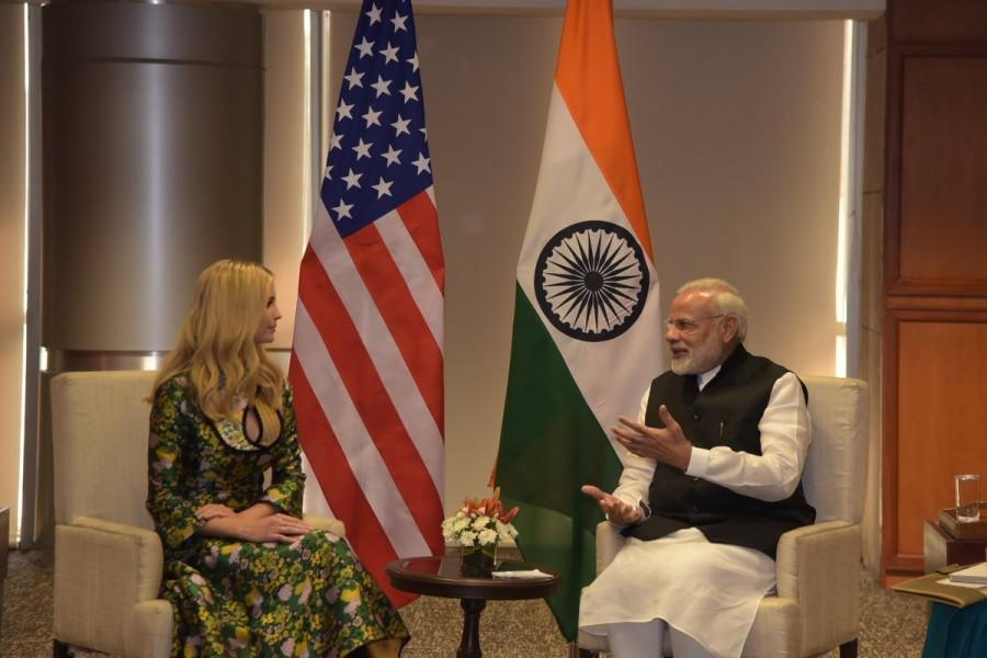 Ivanka Trump meets PM Narendra modi,Ivanka Trump meets PM modi,Ivanka Trump meets modi,Modi meets Ivanka Trump,Ivanka Trump,Narendra modi,GES 2017,Global Entrepreneurship Summit,Global Entrepreneurship Summit 2017
